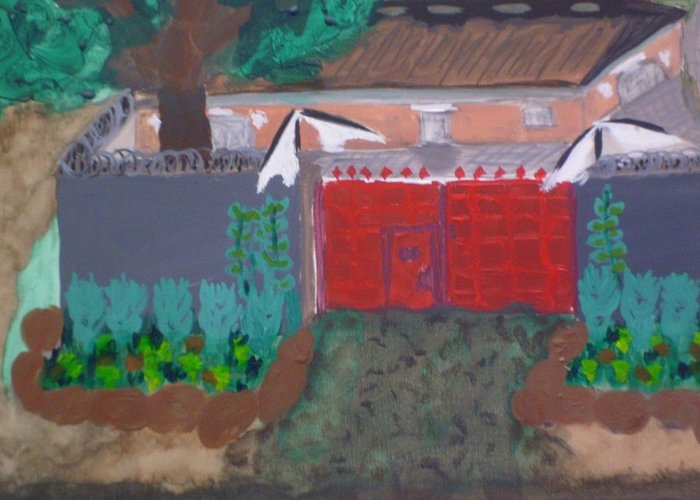 A House Greeting Card featuring the painting House by Yetha Lumumba