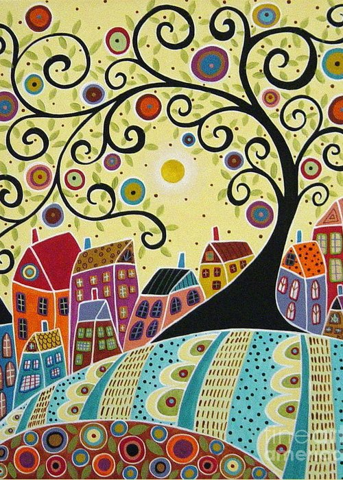 Swirl Tree Greeting Card featuring the painting Houses And A Swirl Tree by Karla Gerard