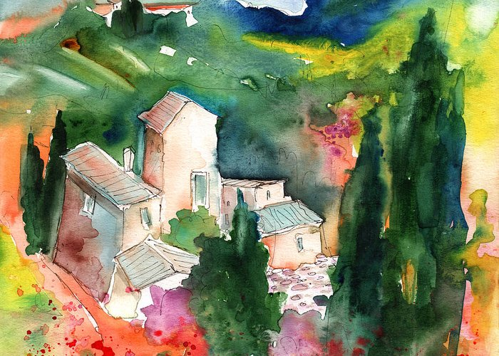 Landscapes Greeting Card featuring the painting Houses In Montepulciano In Tuscany 01 by Miki De Goodaboom