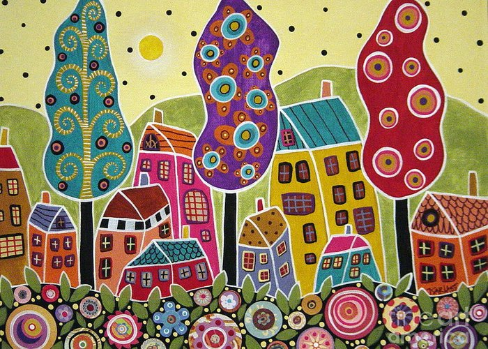 Landscape Greeting Card featuring the painting Houses Trees Flowers by Karla Gerard