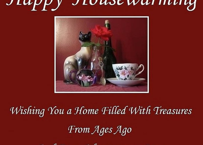 Happy Greeting Card featuring the mixed media Housewarming by Mary Ellen Frazee