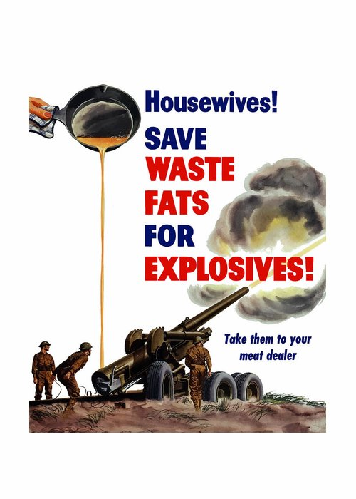 Housewives save waste fats for explosives greeting card for sale world war 2 greeting card featuring the painting housewives save waste fats for explosives by m4hsunfo