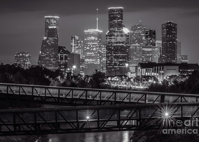 Houston Skyline Greeting Card featuring the photograph Houston Skyline With Rosemont Bridge In Bw by Tod and Cynthia Grubbs