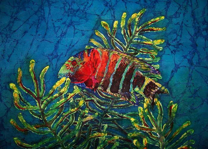 Fish Greeting Card featuring the painting Hovering - Red Banded Wrasse by Sue Duda