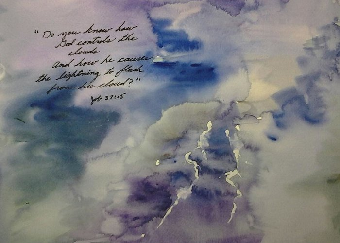 Watercolor Greeting Card featuring the painting How Does Lightning Flash? by B L Qualls