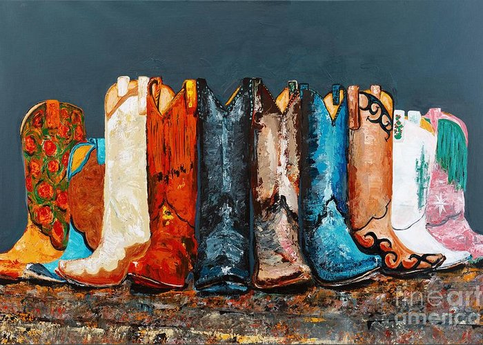 Cowboy Boots Greeting Card featuring the painting How The West Was Really Won by Frances Marino