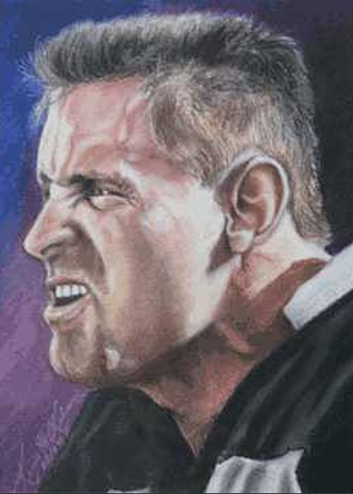 Portrait Greeting Card featuring the painting Howie Long by Kenneth Kelsoe