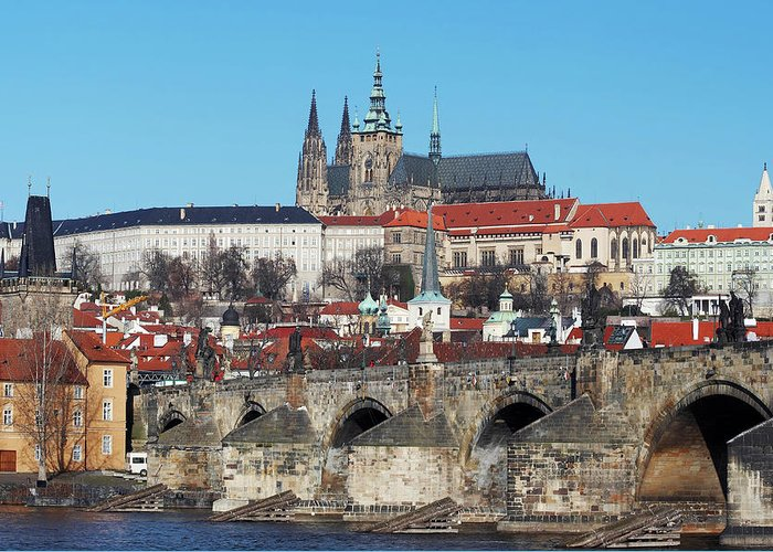 Rare Greeting Card featuring the photograph Hradcany - Cathedral Of St Vitus And Charles Bridge by Michal Boubin