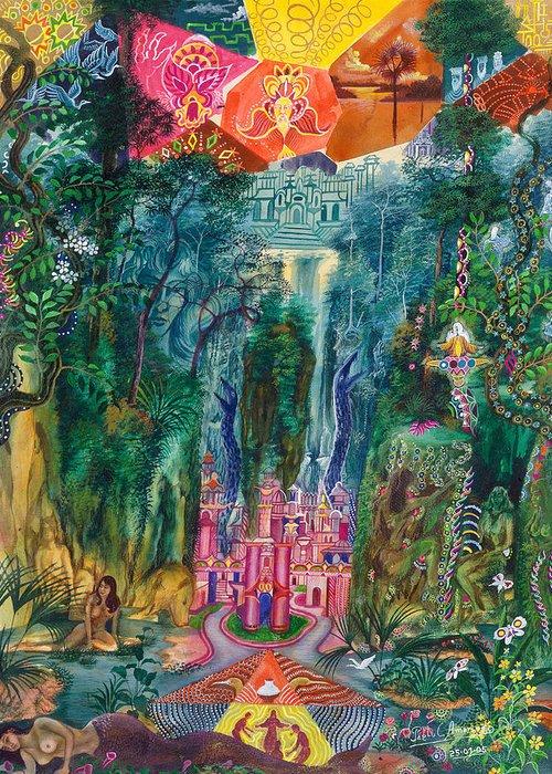Pablo Amaringo Greeting Card featuring the painting Huarmi Taquina by Pablo Amaringo