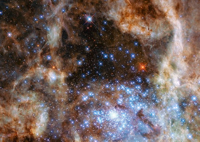 Hubble Greeting Card featuring the photograph Hubble Finds Massive Stars by Nasa - Esa