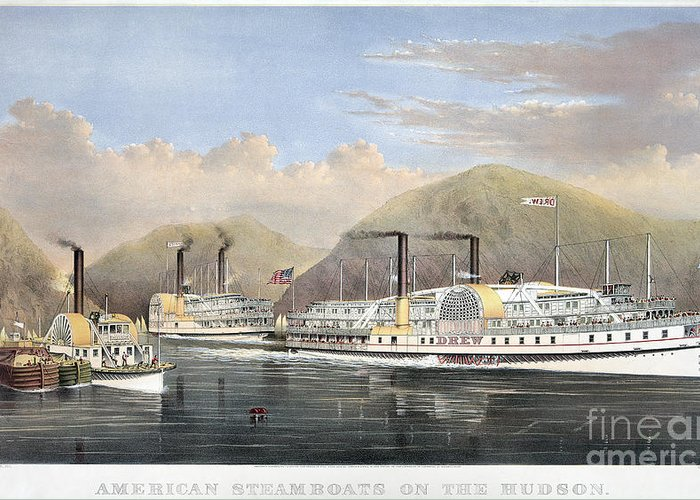 1874 Greeting Card featuring the photograph Hudson River Steamships by Granger