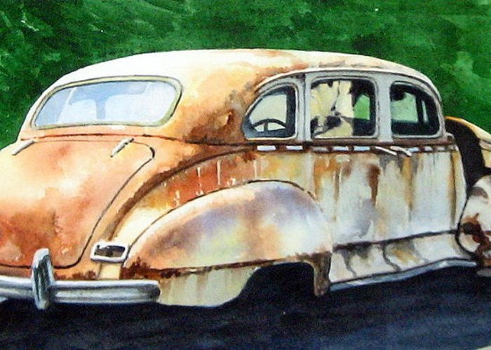 Hudson Car Rust Restore Greeting Card featuring the painting Hudson Waiting For a New Start by Ron Morrison