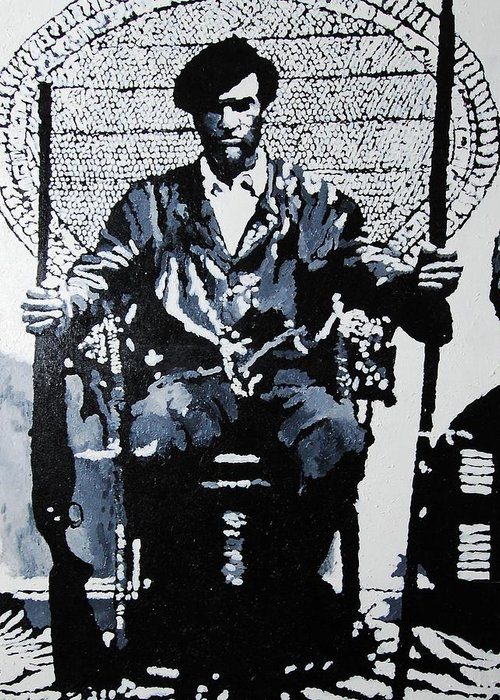 Black Panther Greeting Card featuring the painting Huey Newton Minister Of Defense Black Panther Party by Lauren Luna