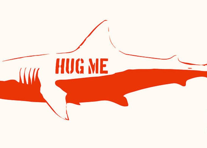 Shark Greeting Card featuring the painting Hug Me Shark by Pixel Chimp