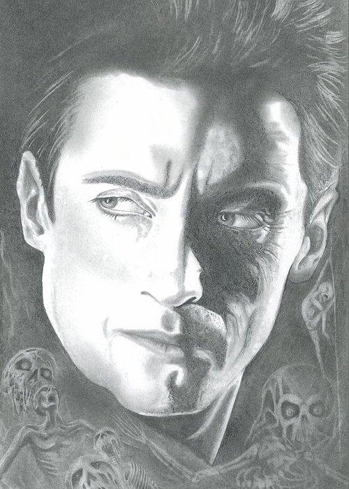 Portraits Greeting Card featuring the drawing Hugh Jackman by Julian B