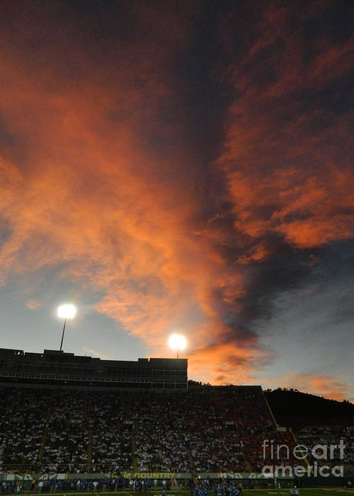 Fort Collins Greeting Card featuring the photograph Hughes Stadium Sunset by Sara Mayer