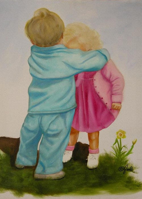 Children Greeting Card featuring the painting Hugs Are Magic by Joni McPherson