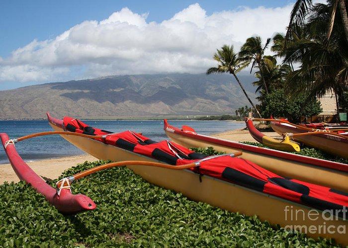 Aloha Greeting Card featuring the photograph Hui Waa O Kihei by Sharon Mau