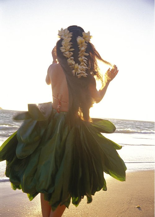 Back View Greeting Card featuring the photograph Hula At Sunrise by Tomas del Amo - Printscapes
