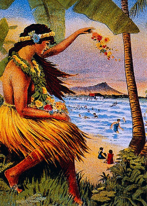 1915 Greeting Card featuring the painting Hula Flower Girl 1915 by Hawaiian Legacy Archive - Printscapes