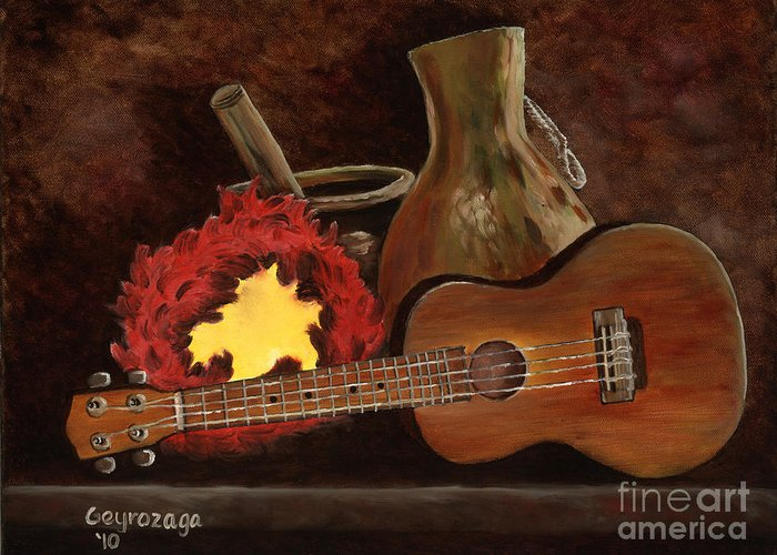 Ukelele Greeting Card featuring the painting Hula Implements by Larry Geyrozaga