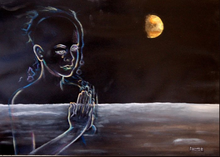 Moon Greeting Card featuring the painting Human Spirit Moonscape by Susan Moore