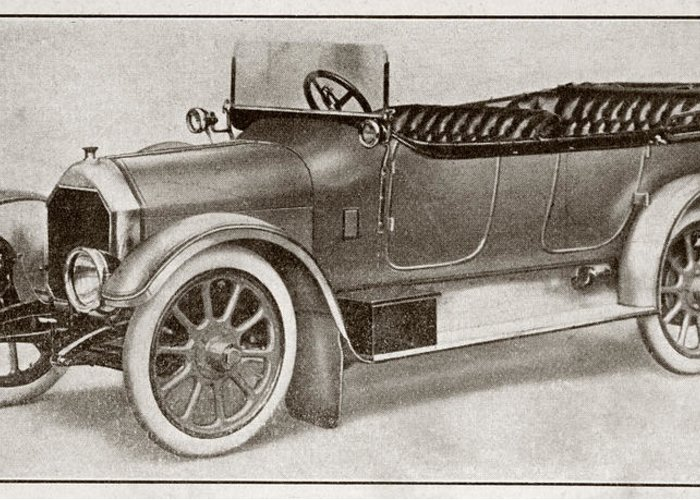 Auto Greeting Card featuring the drawing Humber 14 Hp Model Of 1914. From La by Vintage Design Pics