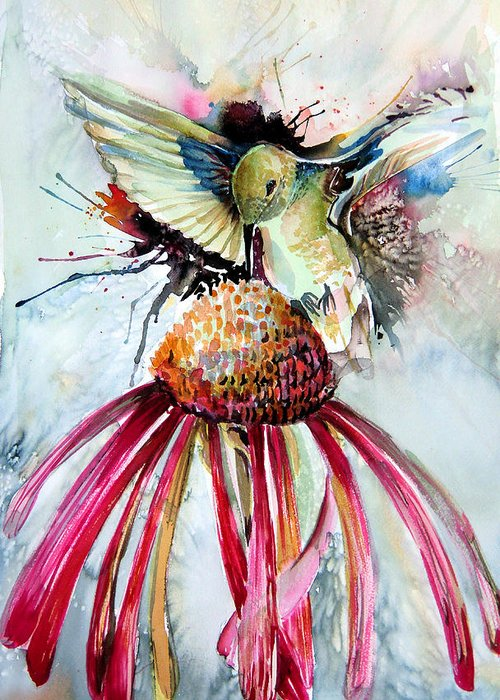 Humming Bird Greeting Card featuring the painting Humming Bird by Mindy Newman