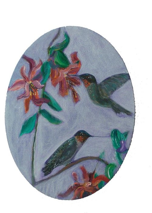 Humming Birds Greeting Card featuring the painting Humming Birds by Mikki Alhart