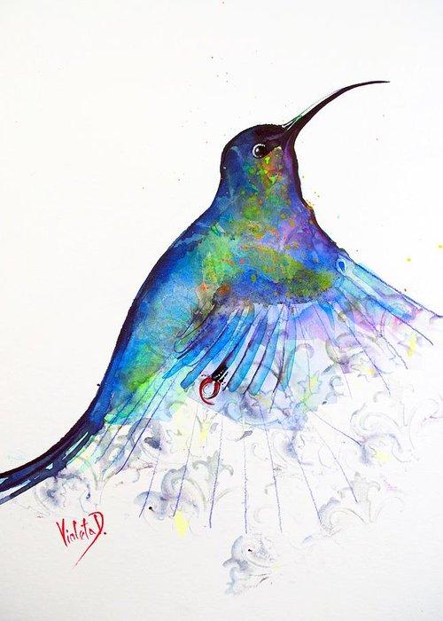 Hummingbird Greeting Card featuring the painting Hummingbird 11 by Violeta Damjanovic-Behrendt