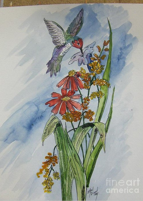 African American Art Greeting Card featuring the painting Hummingbird 2 by Ethel Dixon