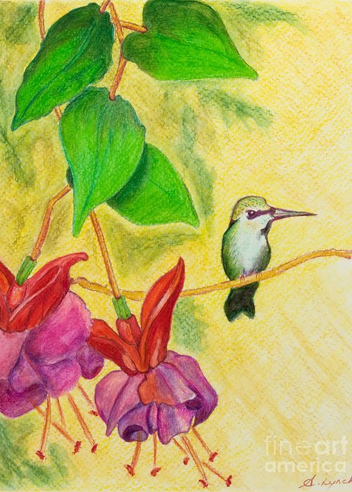 Hummingbird Greeting Card featuring the painting Hummingbird Amongst The Fuchsia by Alison Lynch