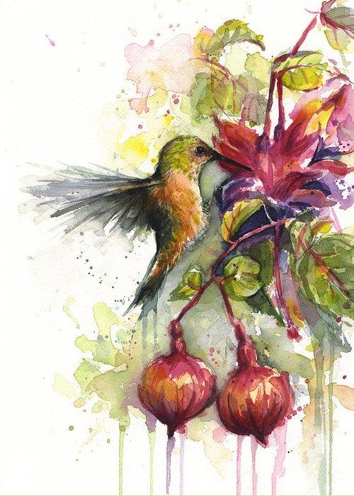 Hummingbird Greeting Card featuring the painting Hummingbird and Fuchsia by Olga Shvartsur