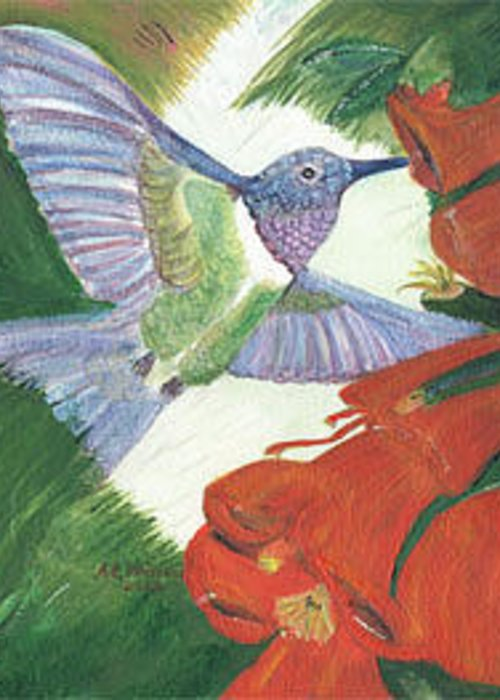 Greeting Card featuring the painting Hummingbird Don't Fly Away by Anne-Elizabeth Whiteway