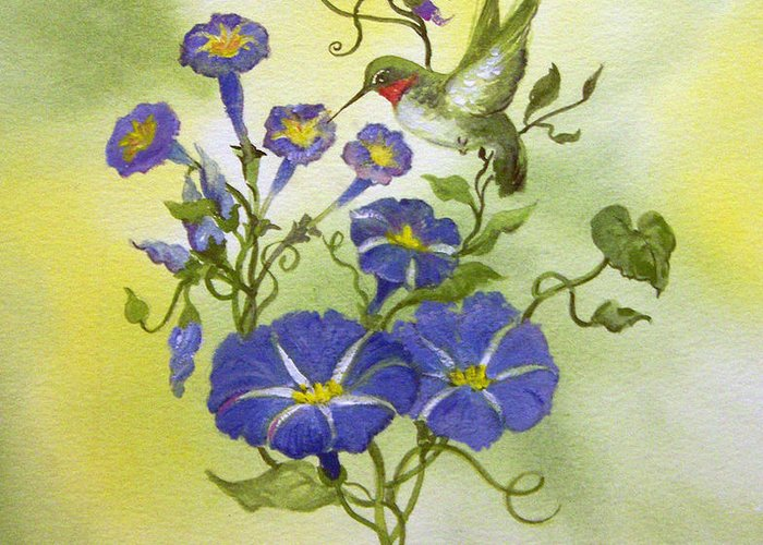 Hummingbird;bird;morning Glories;flowers;watercolor Painting; Greeting Card featuring the painting Hummingbird In The Morning by Lois Mountz