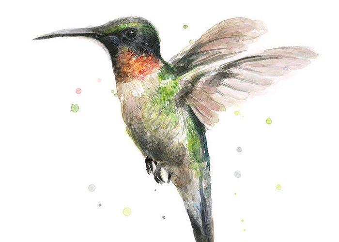 Animal Greeting Card featuring the painting Hummingbird by Olga Shvartsur