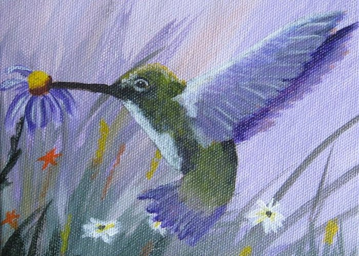 Bird Greeting Card featuring the painting Hummingbird by Rich Fotia