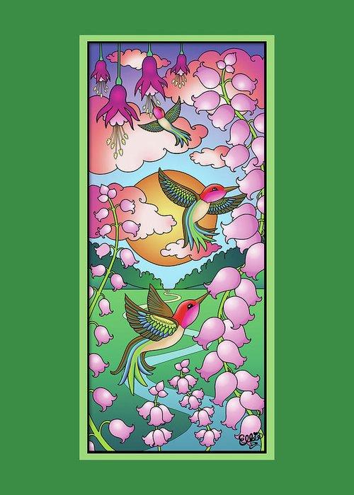 Hummingbirds Greeting Card featuring the digital art Hummingbird Sunrise by Eleanor Hofer