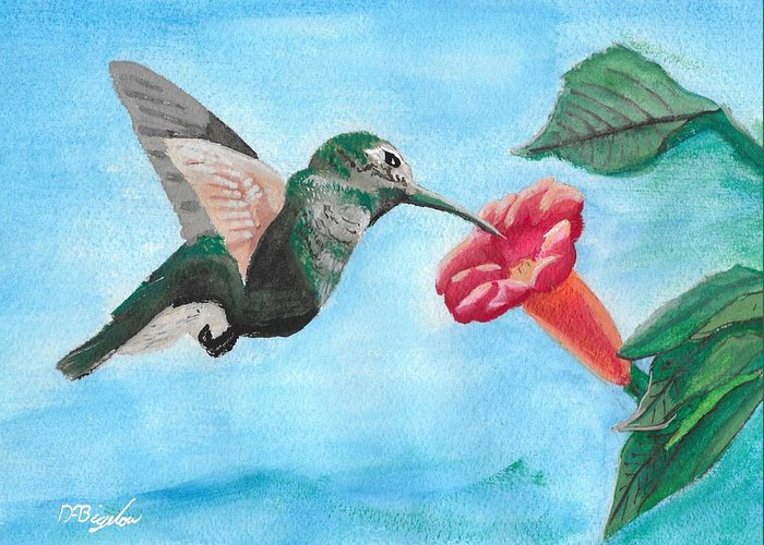 Trumpet Creeper Greeting Card featuring the painting Hummingbird Trumpet by David Bigelow
