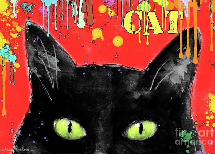 Black Cat Painting Greeting Card featuring the painting humorous Black cat painting by Svetlana Novikova