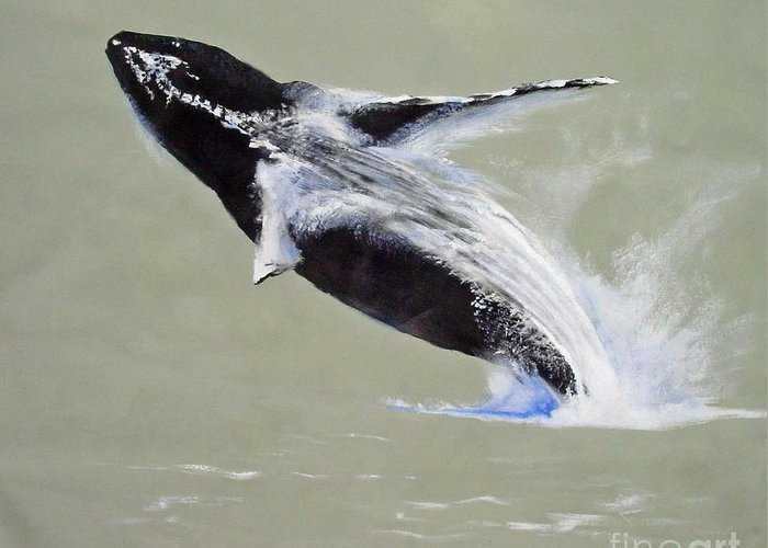 Kihei Greeting Card featuring the painting Humpback Off Kihei Maui by Paul Miller