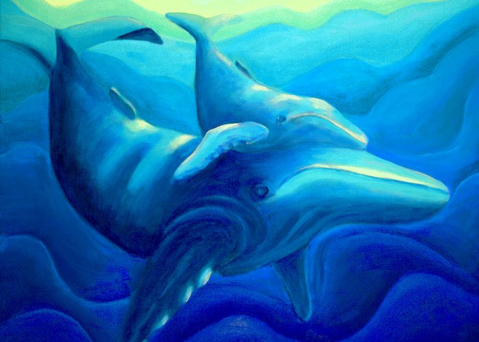 Seascape Greeting Card featuring the painting Humpback with Calf by Lynn Soehner