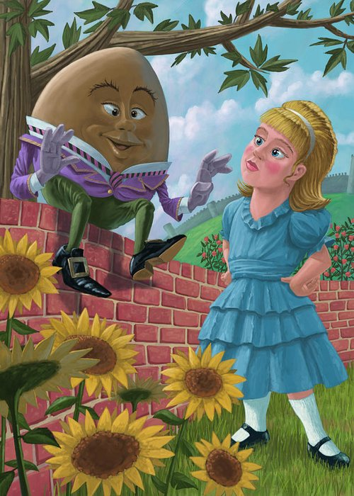 Humpty Greeting Card featuring the painting Humpty Dumpty On Wall With Alice by Martin Davey