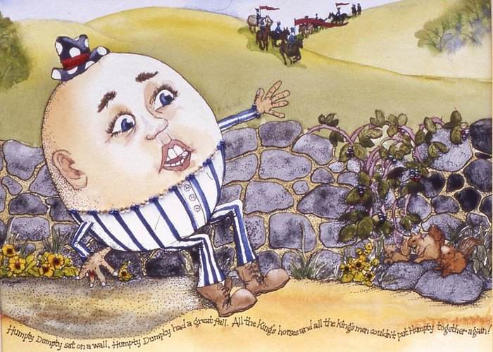 Humpty Dumpty Greeting Card featuring the painting Humpty Dumpty by Victoria Heryet
