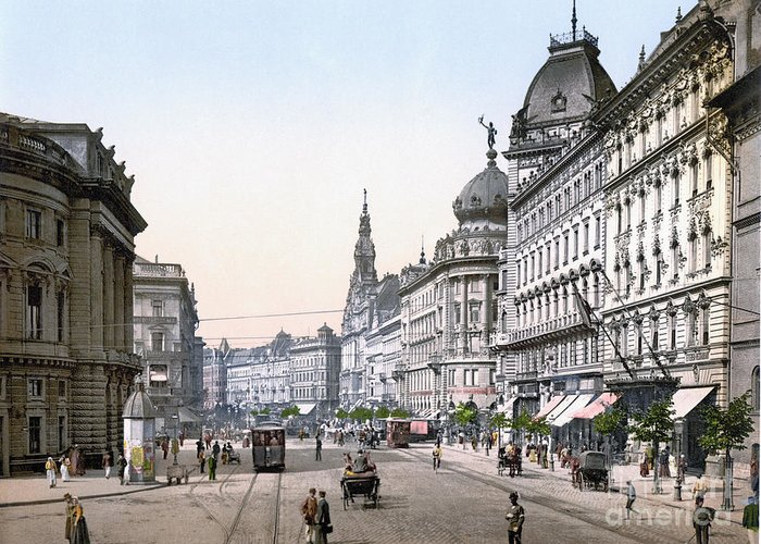 1895 Greeting Card featuring the photograph Hungary: Budapest, C1895 by Granger