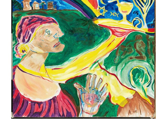Goddess Greeting Card featuring the painting Hunger For God by Red Jordan Arobateau