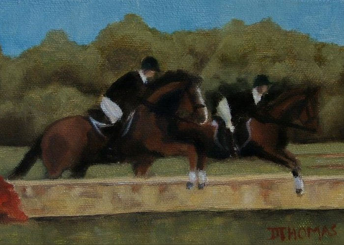 Horse Greeting Card featuring the painting Hunt Scene by Donna Thomas