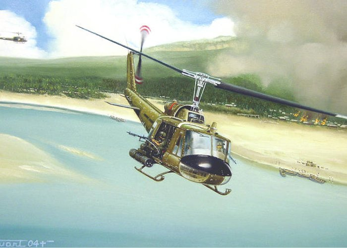 Military Greeting Card featuring the painting Hunter Hueys by Marc Stewart
