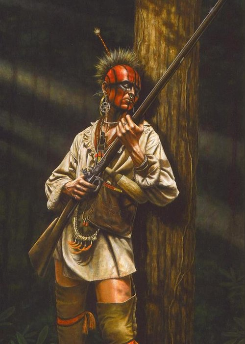 Native American Greeting Card featuring the painting Hunter Or Hunted by Dan Nance