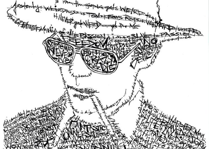 Hunter Thompson Greeting Card featuring the drawing Hunter S. Thompson Black And White Word Portrait by Kato Smock